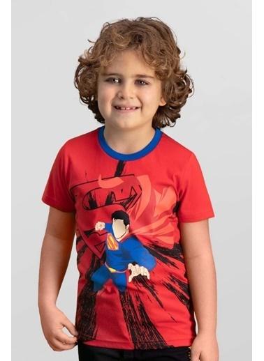 Superman Superman Lisanslı Krem Erkek Çocuk T-Shirt Kırmızı